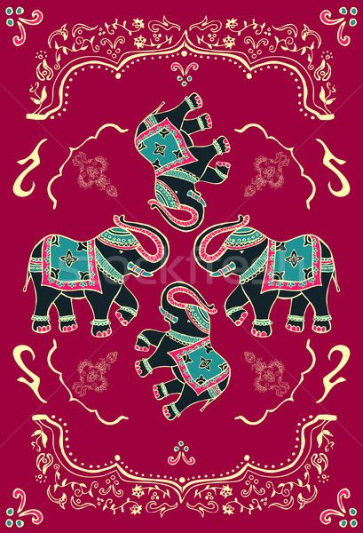 Feestelijk typisch indian olifant traditioneel ingericht Stockfoto © cienpies