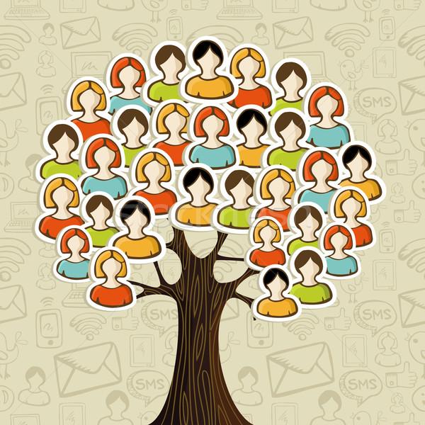 Zdjęcia stock: Social · media · sieci · drzewo · ludzi · ikona · pozostawia