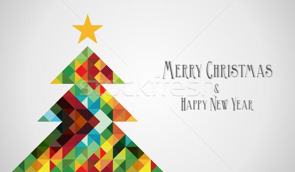 Diversity mosaic arty Christmas Tree Stock photo © cienpies