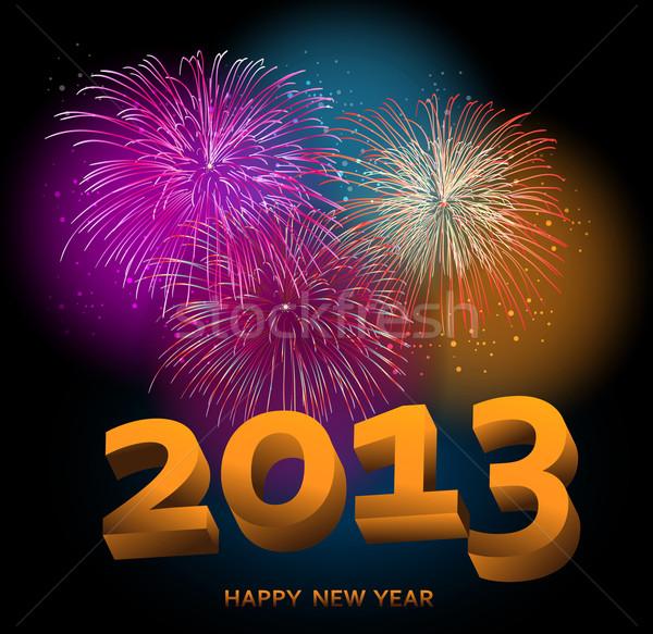 Boldog új évet 2013 tűzijáték éjszakai jelenet eps10 vektor Stock fotó © cienpies