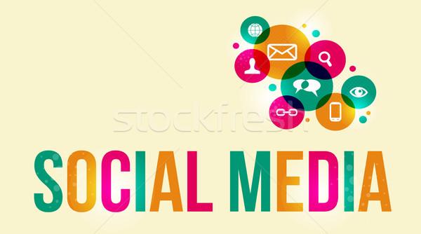 ストックフォト: ソーシャルメディア · アイコン · ベクトル · eps10 · ファイル · バージョン