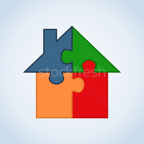 Real estate icon set house Stock photo © cienpies