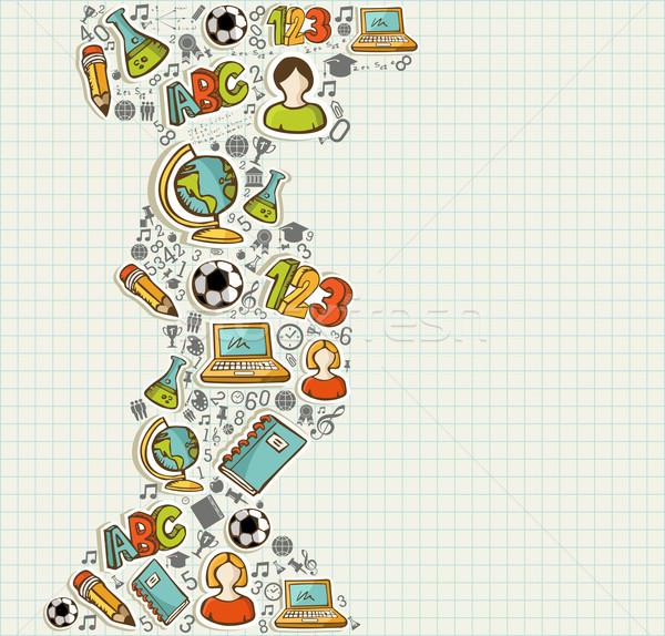 Back to School education cartoon icons. Stock photo © cienpies