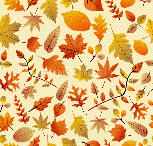 Retro autumn season leaves seamless pattern background. EPS10 fi Stock photo © cienpies