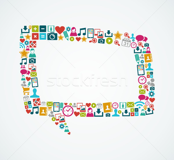 Social media icons isolated speech bubble EPS10 file. Stock photo © cienpies