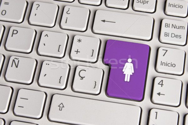 Female gender concept, woman keyboard key. Stock photo © cienpies