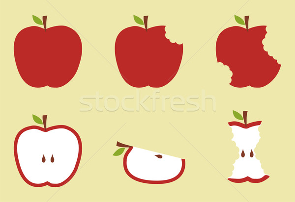 Red apple model ilustrare mere fruct galben Imagine de stoc © cienpies