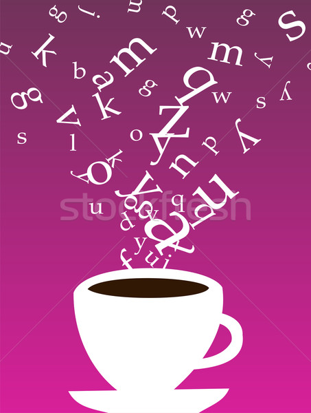 Cup of coffee with letters Stock photo © cienpies