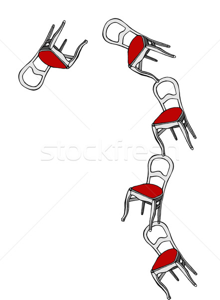 Juggling chairs loosing balance Stock photo © cienpies