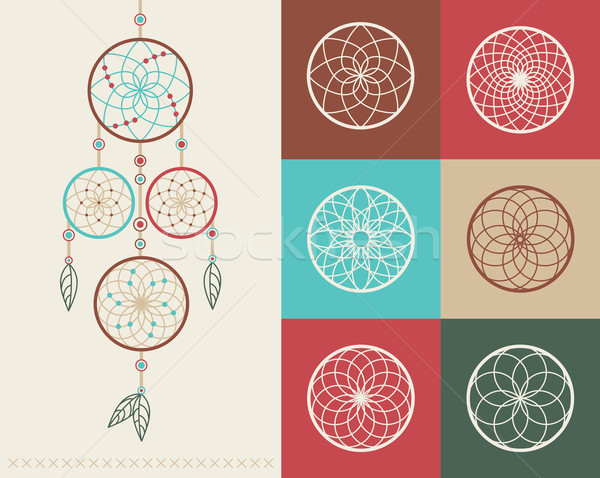 Dream catcher boho icons illustration Stock photo © cienpies
