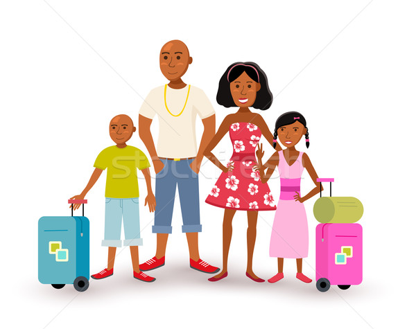 African american family summer vacation travel Stock photo © cienpies