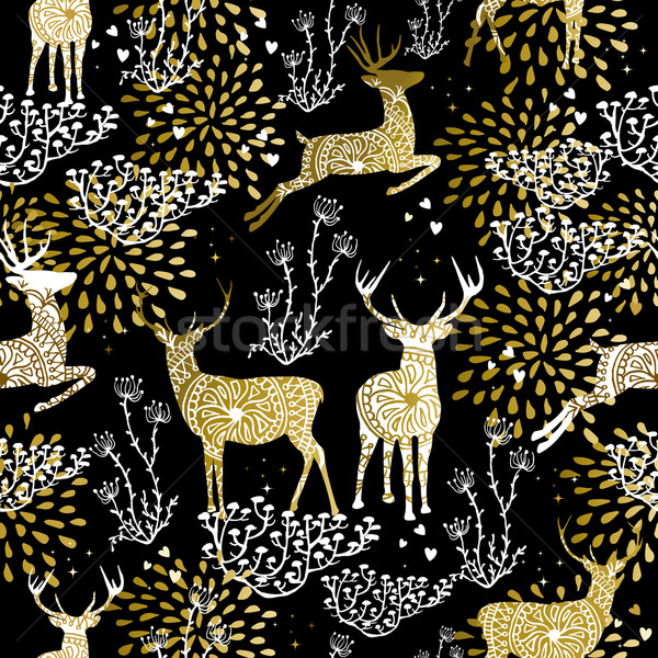 Christmas golden seamless pattern deer reindeer Stock photo © cienpies