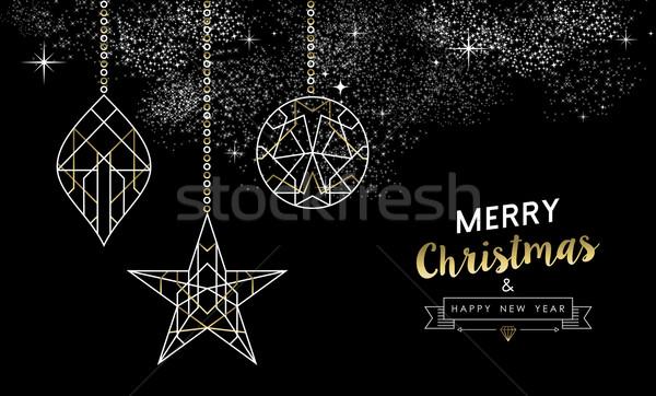 Stok fotoğraf: Neşeli · Noel · yılbaşı · dekorasyon · altın