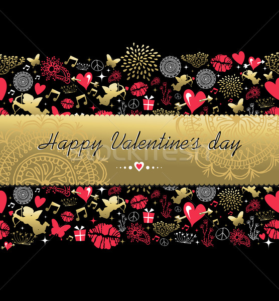 Valentines day greeting card pattern gold icon Stock photo © cienpies