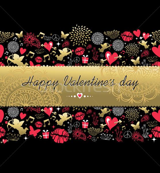 Saint valentin carte de vœux modèle or icône heureux Photo stock © cienpies