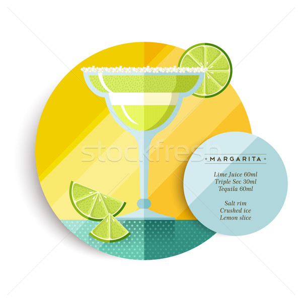 Margarita drink recipe menu for cocktail party Stock photo © cienpies
