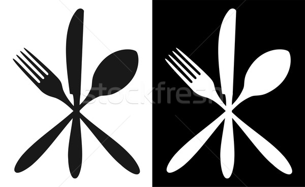 Black and white cutlery icons Stock photo © cienpies