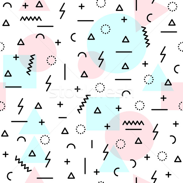 80s retro shapes seamless pattern in soft colors Stock photo © cienpies