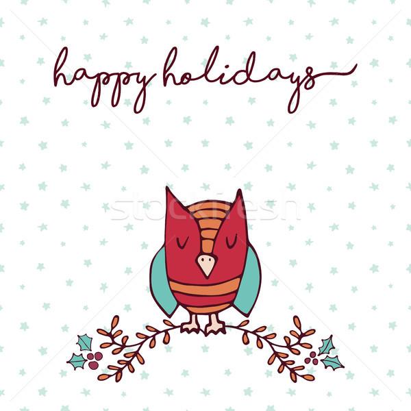 Foto stock: Natal · decoração · natureza · bonitinho · coruja · desenho · animado