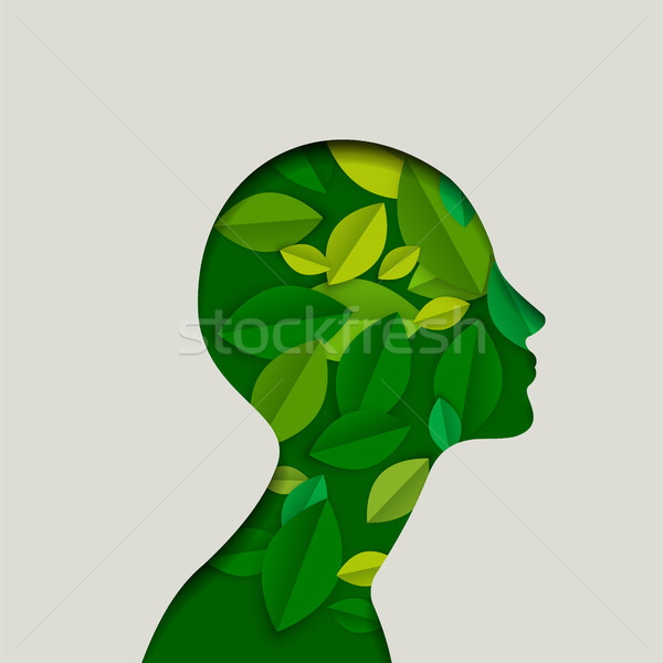 Green paper eco friendly woman face with leaves Stock photo © cienpies