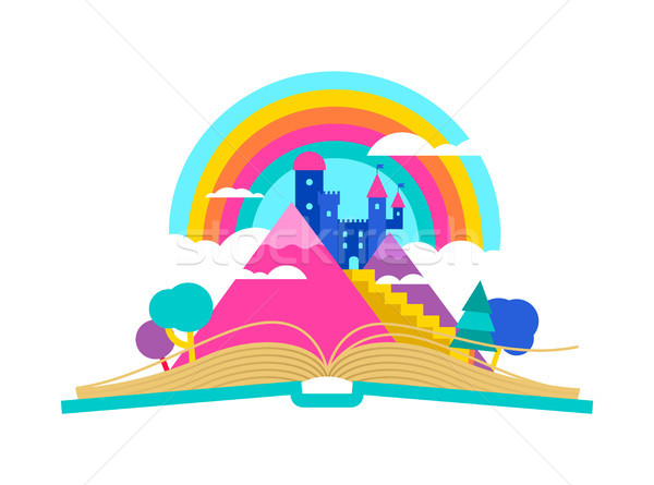 Open book with magic fairy tale castle concept Stock photo © cienpies