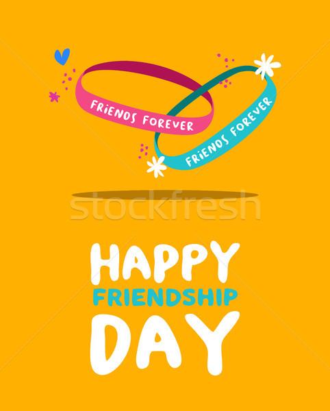 Heureux amitié jour amis toujours bracelet Photo stock © cienpies