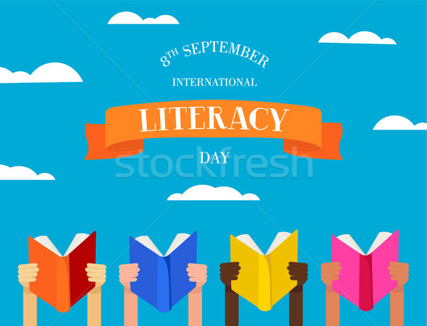 World Literacy Day concept of people with books Stock photo © cienpies