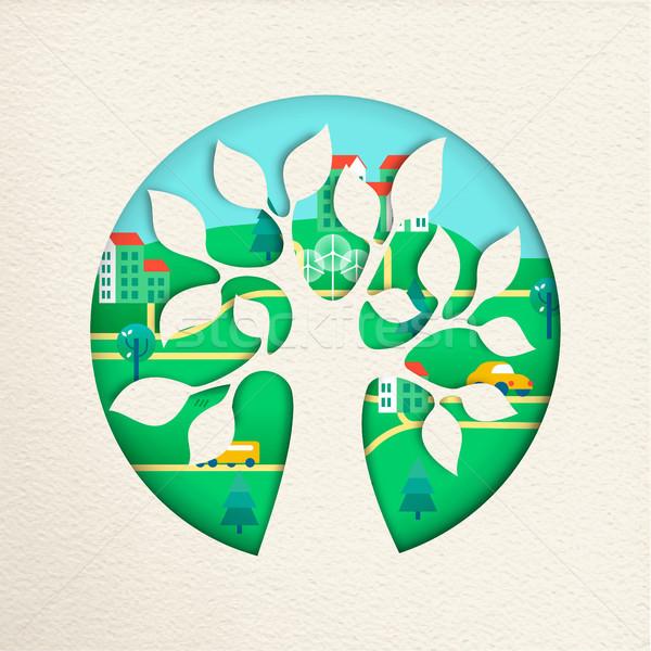 Groene boom milieuvriendelijk stad natuur helpen boom Stockfoto © cienpies