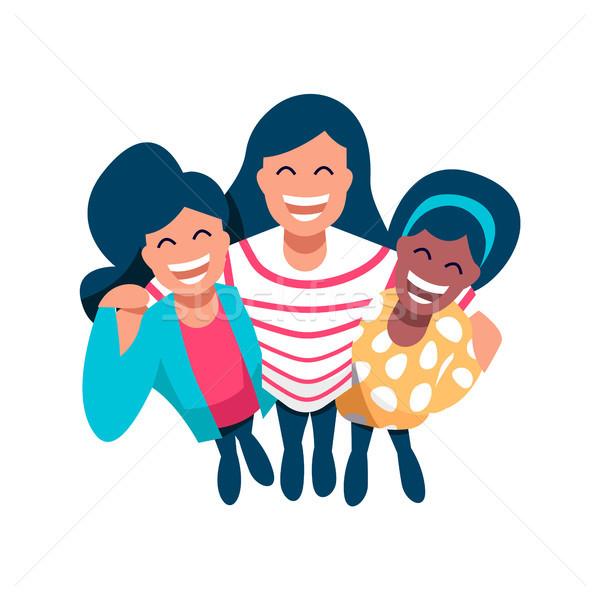 Kız arkadaş grup mutlu kadın Stok fotoğraf © cienpies