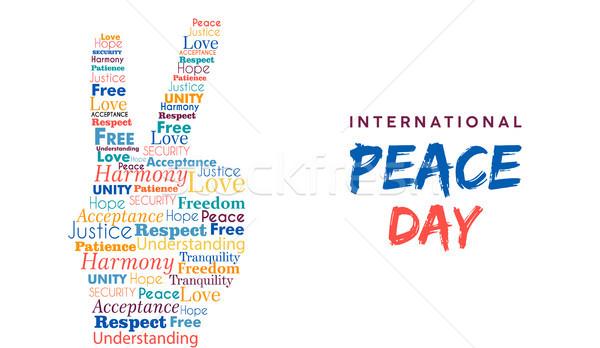 Welt Frieden Tag Karte Handzeichen Freiheit Stock foto © cienpies