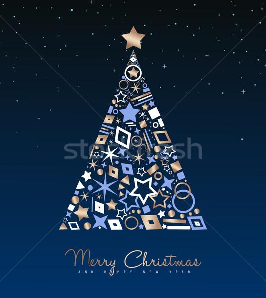 Stok fotoğraf: Noel · yılbaşı · bakır · ağaç · dekorasyon · kart