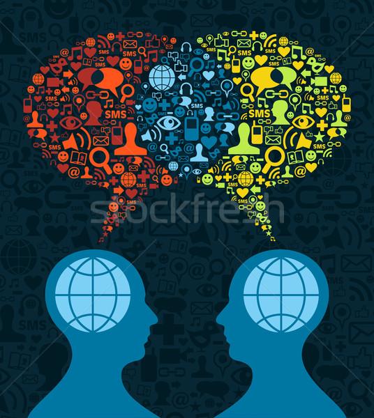 Social media mózgu komunikacji dwa ludzi Zdjęcia stock © cienpies
