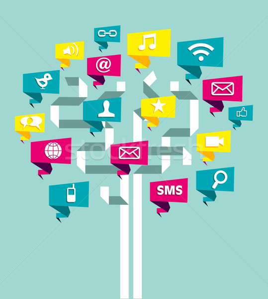 Social media network business tree Stock photo © cienpies