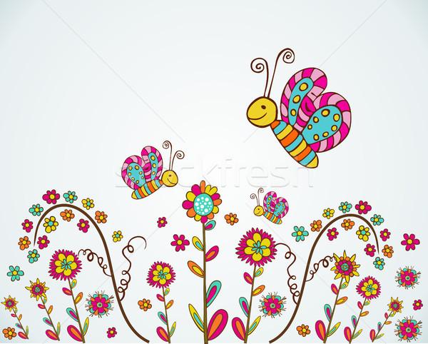 Stock fotó: Tavasz · szép · virág · színes · tavaszi · virág · pillangó