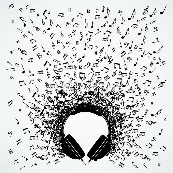 Hangjegyek fejhallgató izolált terv véletlenszerű csobbanás Stock fotó © cienpies