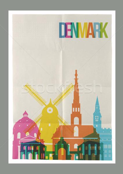 Utazás Dánia sziluett klasszikus poszter híres Stock fotó © cienpies