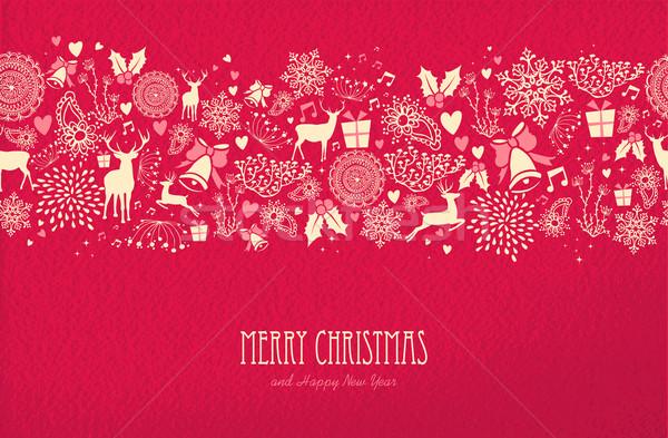 Alegre Navidad feliz año nuevo tarjeta patrón ciervos Foto stock © cienpies