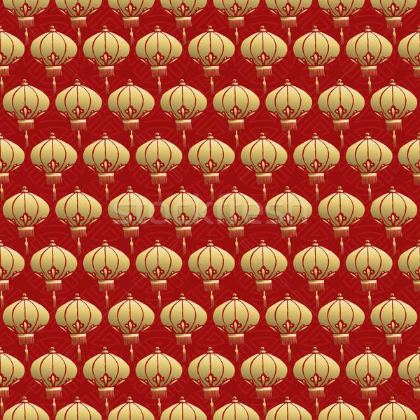 Chinês vermelho lanterna lâmpada ouro Foto stock © cienpies