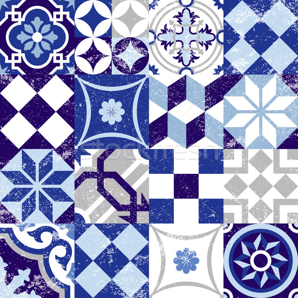 Végtelen minta klasszikus kék csempe dekoráció tákolmány Stock fotó © cienpies