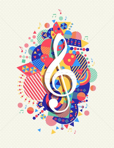 Muzyki Uwaga ikona klucz wiolinowy kolor Zdjęcia stock © cienpies