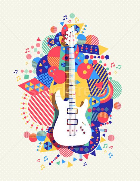 Elektrogitar ikon müzik renk biçim dizayn Stok fotoğraf © cienpies