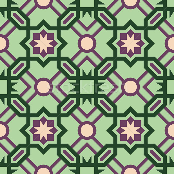 Mosaic tile pattern with abstract green design Stock photo © cienpies
