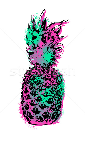 Ananas Obst Farbe Kunst Design Sommer Stock foto © cienpies