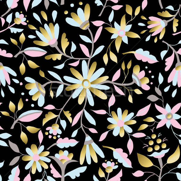 Gold flower seamless pattern in pastel colors Stock photo © cienpies