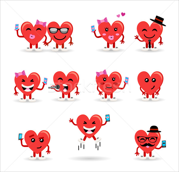 Valentines day couple heart emoji set Stock photo © cienpies