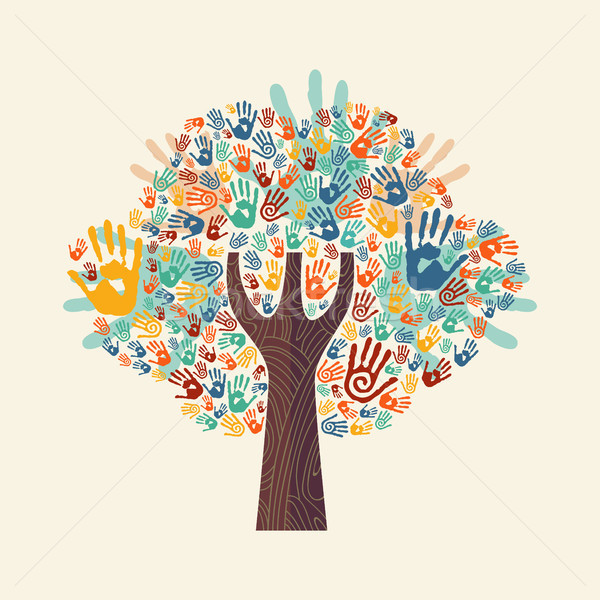 Hand tree colorful diverse community illustration Stock photo © cienpies