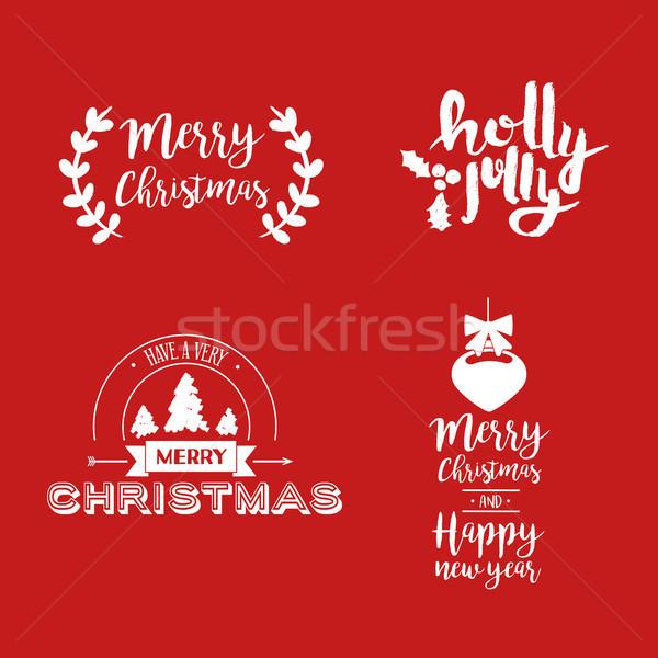 Noël fêtes rouge citer joyeux Photo stock © cienpies