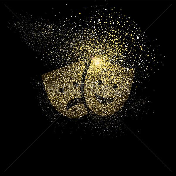 Theatre mask gold glitter art symbol illustration Stock photo © cienpies