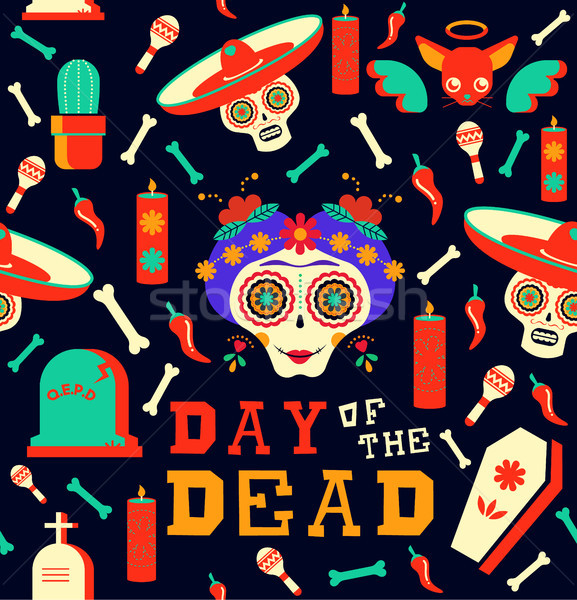 Day of the dead happy sugar skull seamless pattern Stock photo © cienpies