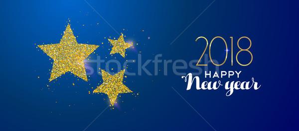 Foto stock: Feliz · ano · novo · ouro · brilho · férias · estrelas · mensagem